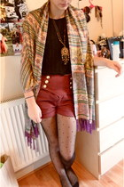 dotted Primark tights - thrifted shirt - thrifted scarf - Primark shorts