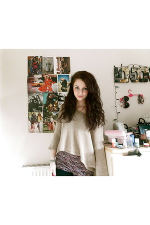 knit Wild Heart jumper - fur Topshop jacket - aztec new look shorts