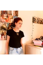 cropped thrifted top - acid-wash Primark jeans - elephant Topshop necklace