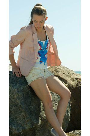 white shorts - white top - pink blazer