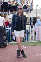 black jacket - ivory shorts