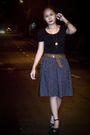 Black-random-brand-blouse-blue-thrifted-skirt-brown-belt-black-parisian-sh