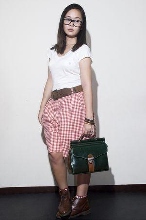 white random brand shirt - red Liz Clairborne Sport shorts - green thrifted - br
