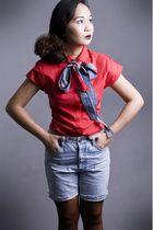 red ensembles top - blue random brand belt - blue thrifted shorts - black