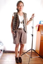 ivory random brand shirt - navy from mums closet vest - light brown Weekender sh