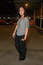 heather gray random brand top - dark gray random brand pants - black Parisian bo