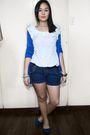 Blue-zara-cardigan-white-thrifted-top-blue-random-brand-shorts-green-acces