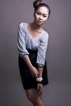 gray new look blouse - black Topshop skirt - blue
