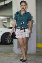 green borrowed from mums blouse - white Primark shorts - black random brand belt