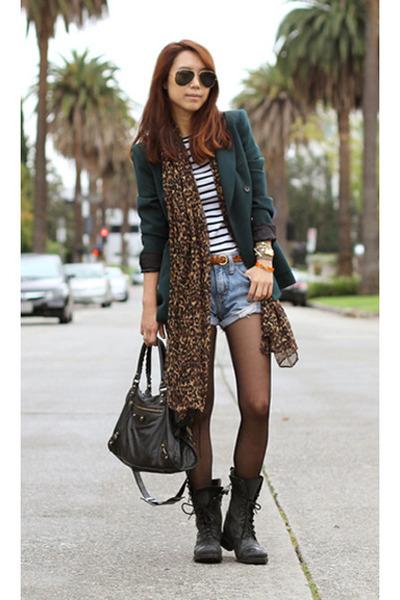 Zara blazer - Steve Madden shoes - Zara scarf - balenciaga bag - Zara t-shirt