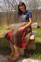 navy slayer vintage t-shirt - ruby red vintage skirt - brown Urban Outfitters be