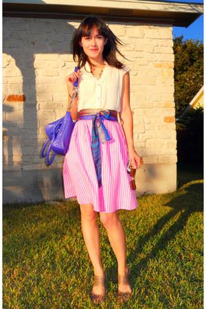 cream Esley blouse - deep purple Therapy belt - bubble gum skirt - camel franco