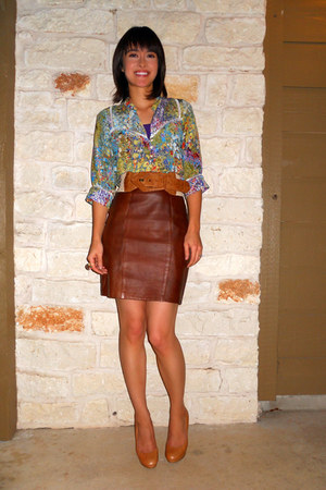 Anthropologie blouse - camel Urban Outfitters belt - brown vintage skirt - camel