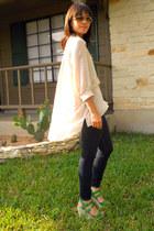 James Jeans jeans - gold aviator dita sunglasses - peach cape-back H&M top - gre