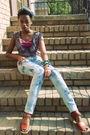 Blue-kohls-jeans-brown-nine-west-shoes-purple-kohls-blouse-purple-wet-seal