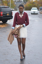white feathers H&M skirt - brick red cashmere H&M sweater - camel blazer