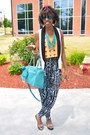 Red-thrifted-scarf-turquoise-blue-deux-lux-bag-navy-tribal-print-h-m-jumper