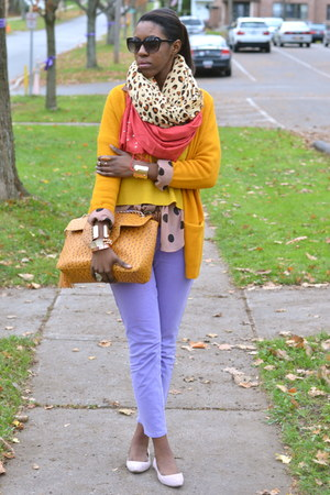 mustard H&M cardigan - light purple cropped Khols jeans