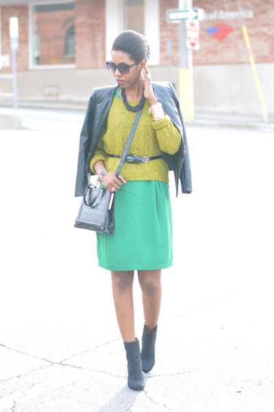 green pencil skirt H&amp;M dress - black suede H&amp;M boots