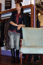 thrifted blazer - vintage shirt - free people jeans - vintage - vintage