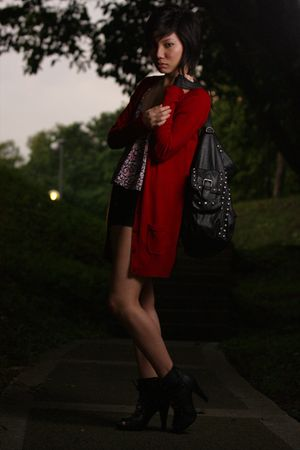 red Zara cardigan - pink supre top - blue new look shorts - black Zara purse - b