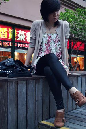 beige cardigan - white dress - black Zara leggings - brown Aldo boots - black Za
