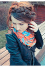 Ruby-red-scarf-black-jacket