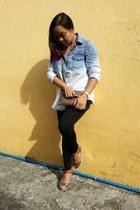sky blue denim H&M blouse