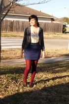 gray  jacket - white Ann Taylor thrifted sweater - blue UO skirt - red f21 tight