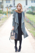 dark khaki Forever 21 coat - black Topshop boots - black Forever 21 dress