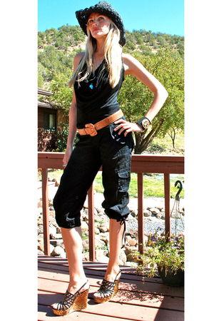 black Urban Outfitters top - black Bebe pants - orange vintage belt - blue neckl