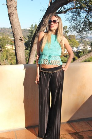 black Arden B pants - dark brown pucci sunglasses - gold chain belt Express belt