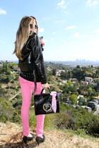 hot pink Levis jeans - black patent versace jacket