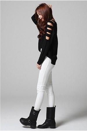 white Filthy Magic pants - black Filthy Magic sweater