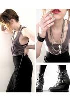 black yigal azrouel skirt - gray oak top - black surface to air boots - green Ch
