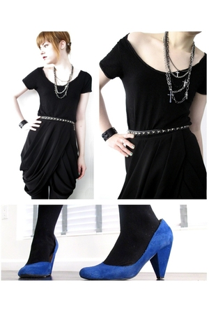 black H&M skirt - black Zara top - black American Apparel tights - blue Urban Ou