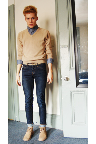 suede Soft Moc shoes - vintage sweater - chambray American Apparel shirt