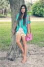Peach-francescas-shoes-hot-pink-loveculture-bag-yellow-khojovintage-shorts