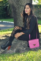 OASAP leggings - Love Cultire bag - Forever21 blouse