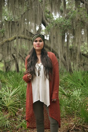 burnt orange Gypsan cardigan - hair accessory - cream Gypsan top