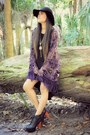 Black-high-low-forever-21-dress-deep-purple-kimono-nasty-gal-cardigan