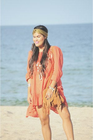 camel Urban Outfitters bag - red eShakti dress