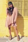 Camel-forever-21-boots-peach-gypsan-dress