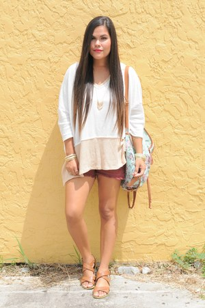 aquamarine Charlotte Russe bag - brick red H&M shorts - cream free people top