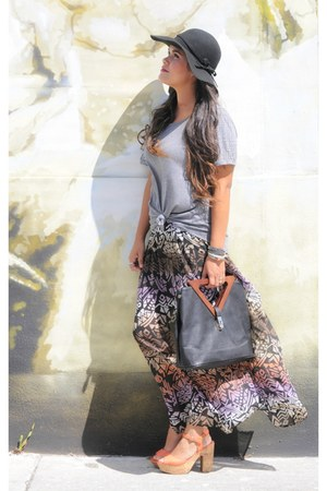 black Dailylook bag - light purple Forever21 skirt - heather gray Forever 21 top