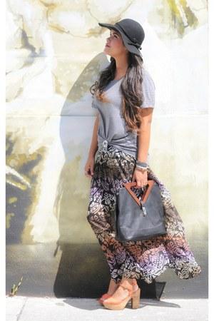 black Dailylook bag - light purple Forever21 skirt - heather gray Forever 21 top