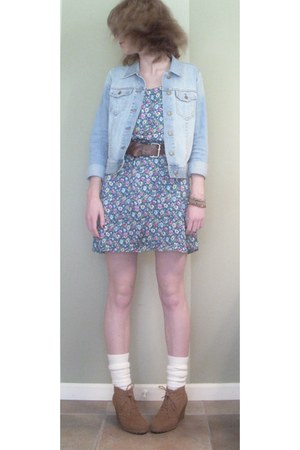 teal floral Forever 21 dress - sky blue denim PacSun jacket - off white knit vin