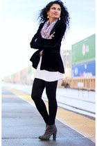 velvet Zara blazer - suede Aldo boots - Bebe tights - printed H&M scarf