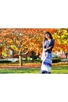 maxi dress ann taylor dress - blue H&M cardigan - nude Steve Madden flats