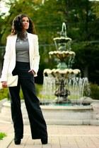 white Zara blazer - white Akira bag - black H&M pants